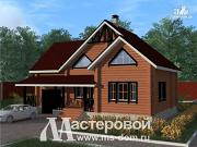 Проект дом из бревна с гаражом