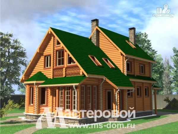 Фото: проект бревенчатый дом с эркерами