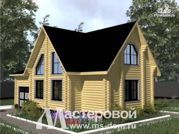 Фото: проект бревенчатый дом с гаражом