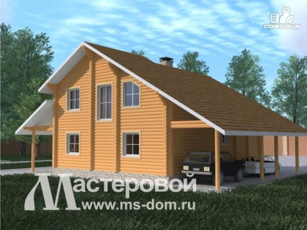 Фото 4: проект бревенчатый дом с навесом для двух машин