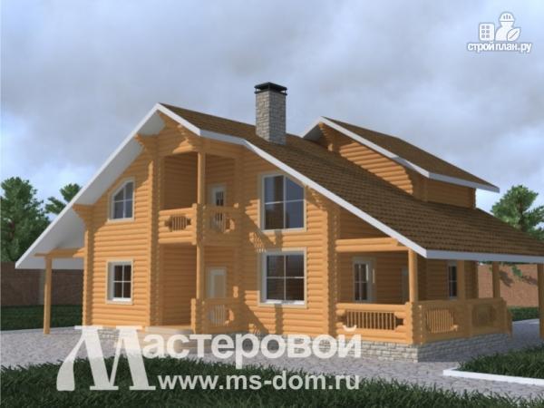 Фото: проект бревенчатый дом с навесом для двух машин