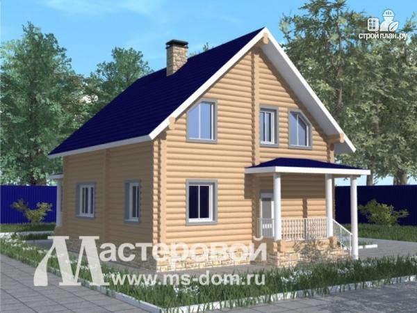 Фото 4: проект бревенчатый дом с большой террасой