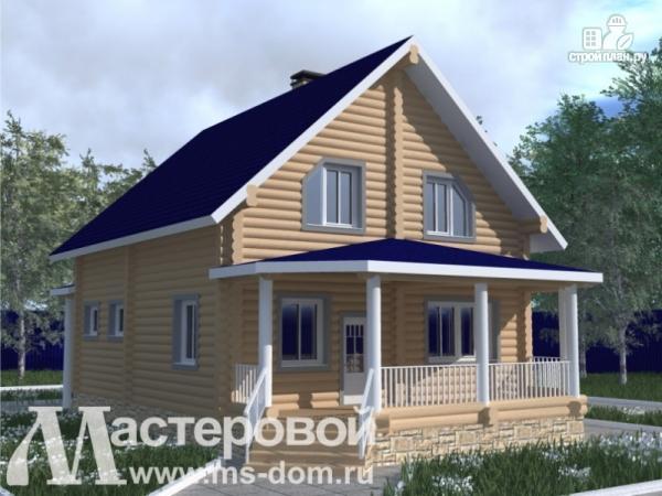 Фото: проект бревенчатый дом с большой террасой