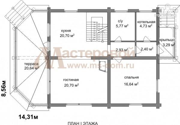 Фото 2: проект бревенчатый дом с большой террасой
