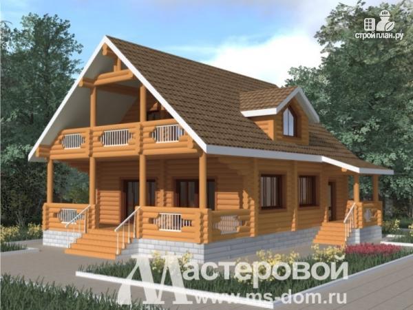 Фото: проект дом из бревна с большими окнами