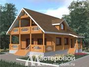 Проект дом из бревна с большими окнами