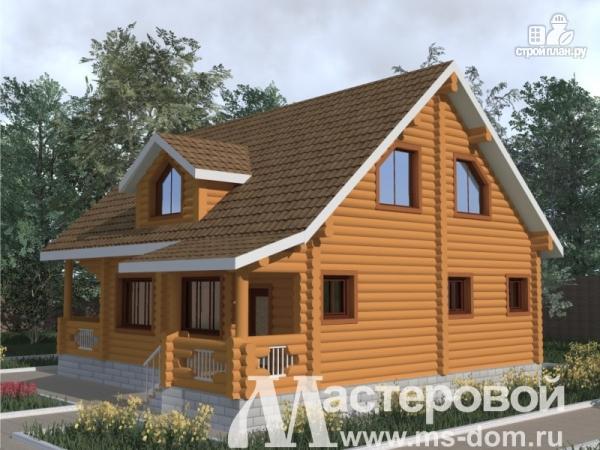 Фото 4: проект дом из бревна с большими окнами