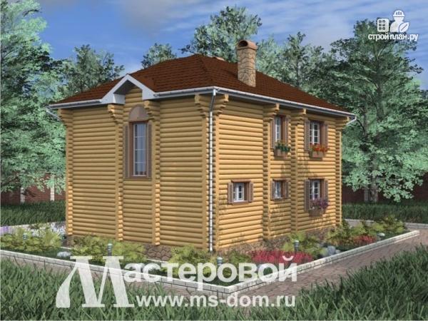 Фото 4: проект двухэтажный бревенчатый дом с террасой