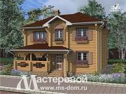 Фото: двухэтажный бревенчатый дом с террасой