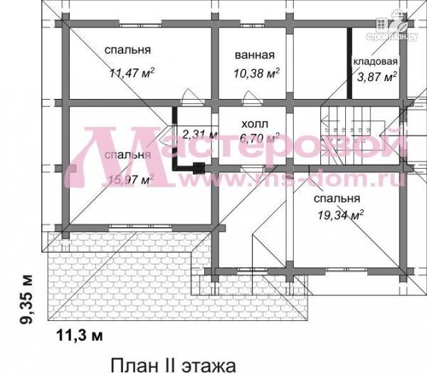 Фото 3: проект двухэтажный бревенчатый дом с террасой