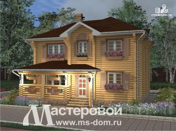 Фото 6: проект двухэтажный бревенчатый дом с террасой