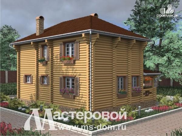 Фото 5: проект двухэтажный бревенчатый дом с террасой