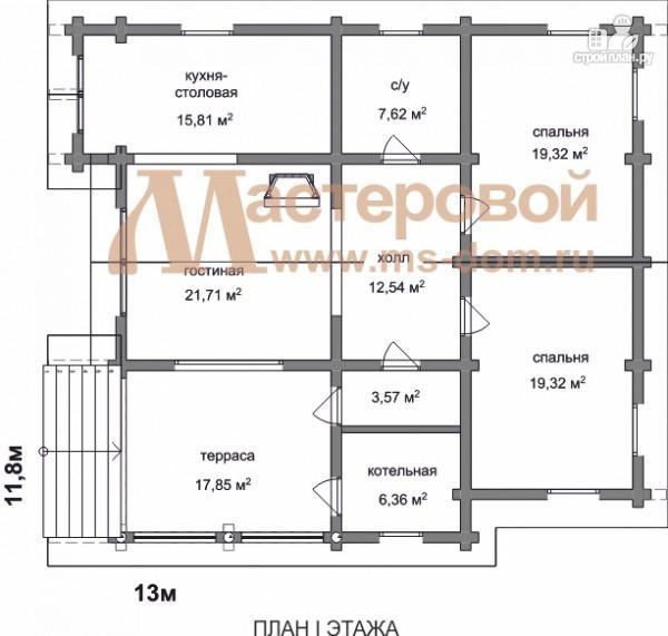 Фото 2: проект одноэтажный дом из оцилиндрованного бревна 240мм