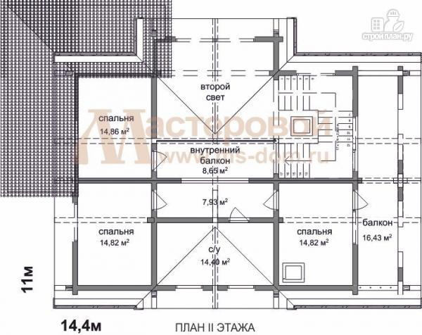 Фото 3: проект двухэтажный дом из оцилиндрованного бревна 220 мм