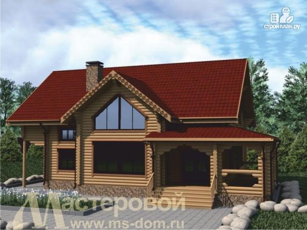 Фото: проект двухэтажный дом из оцилиндрованного бревна 220 мм
