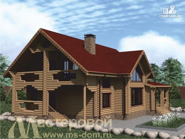 Фото 4: проект двухэтажный дом из оцилиндрованного бревна 220 мм