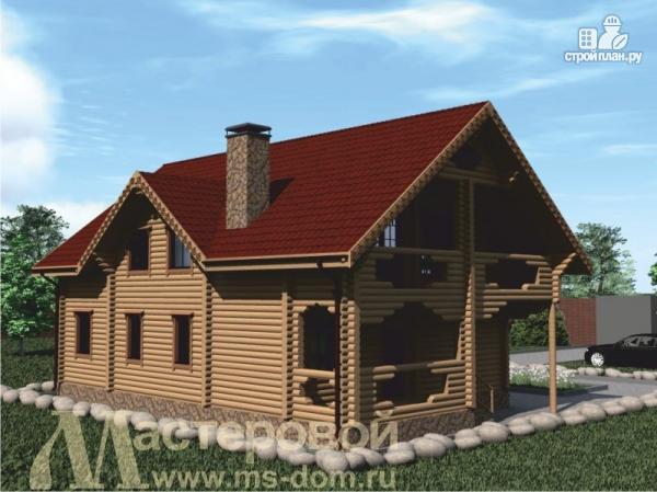 Фото 5: проект двухэтажный дом из оцилиндрованного бревна 220 мм