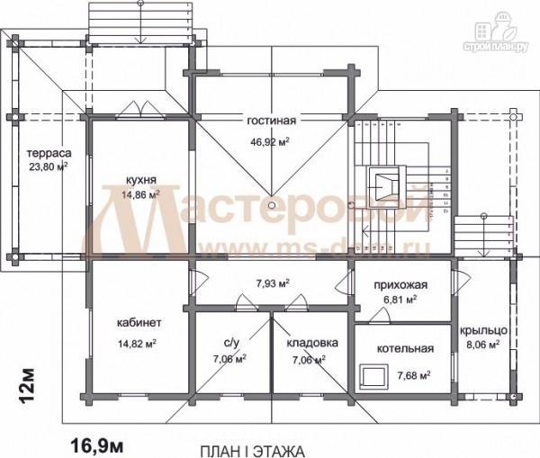 Фото 2: проект двухэтажный дом из оцилиндрованного бревна 220 мм