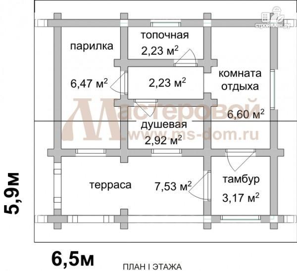 Фото 2: проект одноэтажная бревенчатая баня