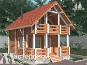 Фото: дом-баня из бревна с балконом и террасой