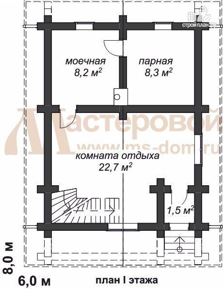 Фото 2: проект дом-баня 6х8 из бревна