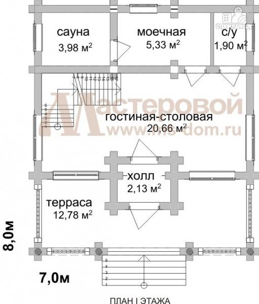 Фото 2: проект дом-баня 7х8 из бревна