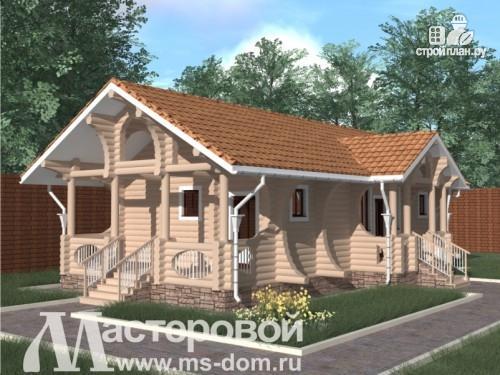 Фото: проект дом-баня из бревна с террасой