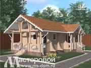 Проект дом-баня из бревна с террасой