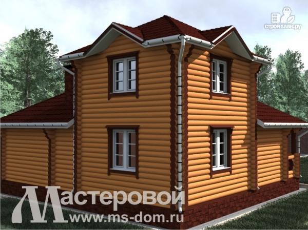 Фото 4: проект двухэтажный дом-баня из оцилиндрованного бревна