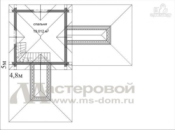 Фото 3: проект двухэтажный дом-баня из оцилиндрованного бревна