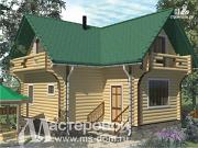 Проект дом-баня из бревна с двумя балконами