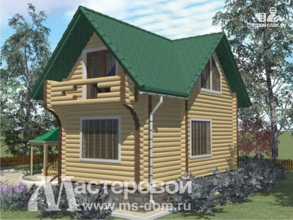 Фото 5: проект дом-баня из бревна с двумя балконами