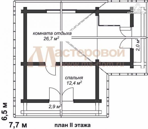 Фото 3: проект дом-баня из бревна с двумя балконами