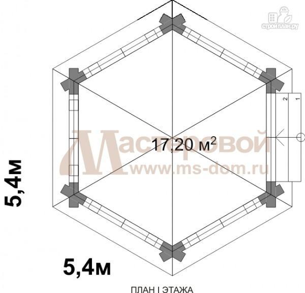 Фото 2: проект беседка из бревна в форме шестиугольника