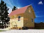 Проект деревянный дом из бруса, с мансардой