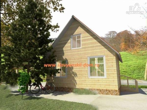 Фото: проект деревянный дом 4х6 из бруса, с мансардой