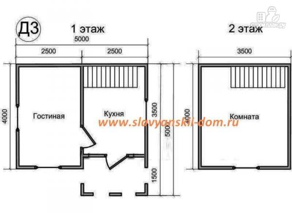 Фото 2: проект деревянный дом 4х5 из бруса, с мансардой и крыльцом