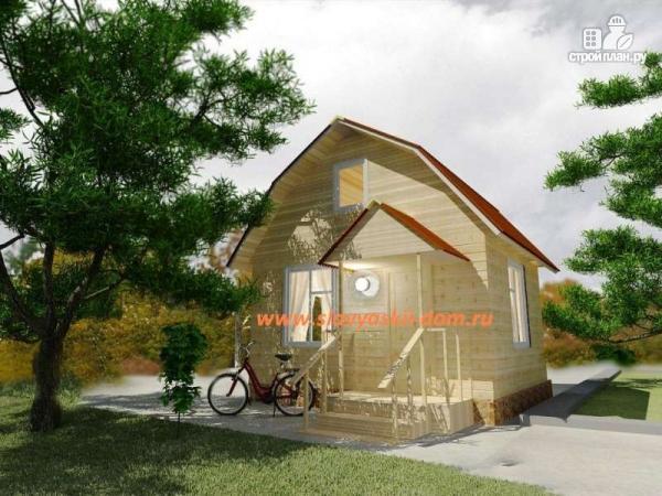 Фото: проект деревянный дом 4х5 из бруса, с мансардой и крыльцом