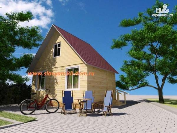 Фото: проект деревянный дом из бруса, с мансардой и крыльцом