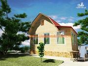 Фото: деревянный дом 5х6 из бруса, с мансардой и верандой