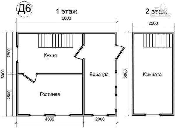Фото 2: проект деревянный дом 5х6 из бруса, с мансардой и верандой