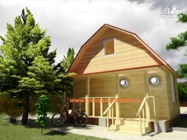 Фото: проект деревянный дом 6х6 из бруса, с мансардой и террасой