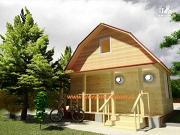 Фото: деревянный дом 6х6 из бруса, с мансардой и террасой