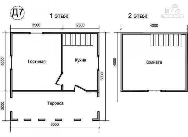 Фото 2: проект деревянный дом 6х6 из бруса, с мансардой и террасой