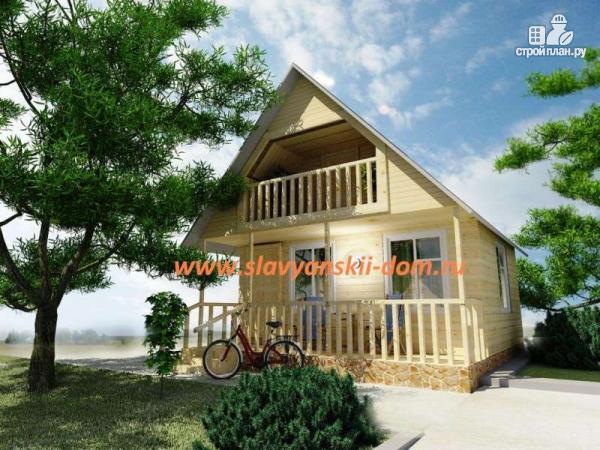 Фото: проект деревянный дом 6х6 из бруса, с верандой и балконом