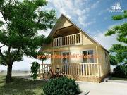 Фото: деревянный дом 6х6 из бруса, с верандой и балконом