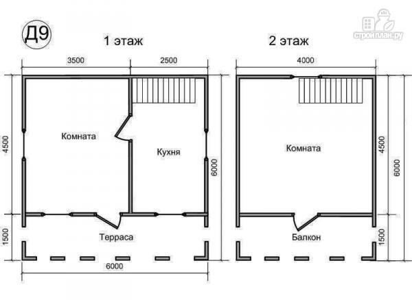 Фото 2: проект деревянный дом 6х6 из бруса, с верандой и балконом
