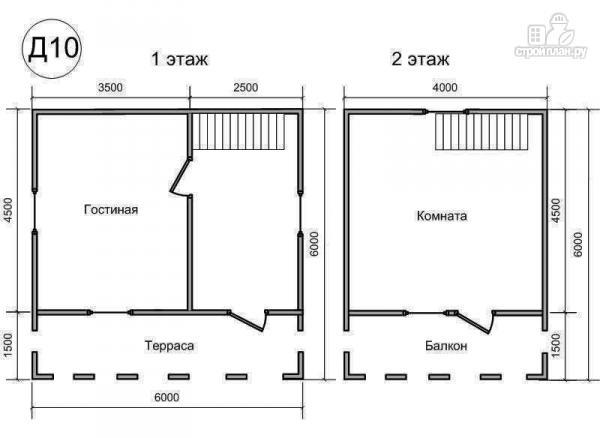 Фото 2: проект деревянный дом 6х6 из бруса, с балконом и террасой