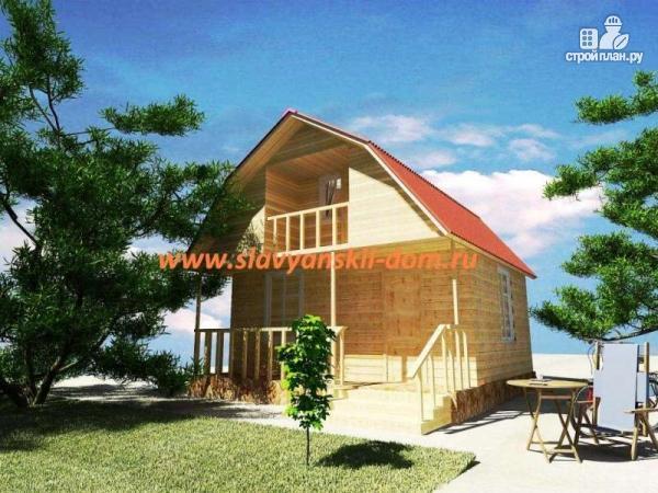 Фото: проект деревянный дом 6х6 из бруса, с балконом и террасой