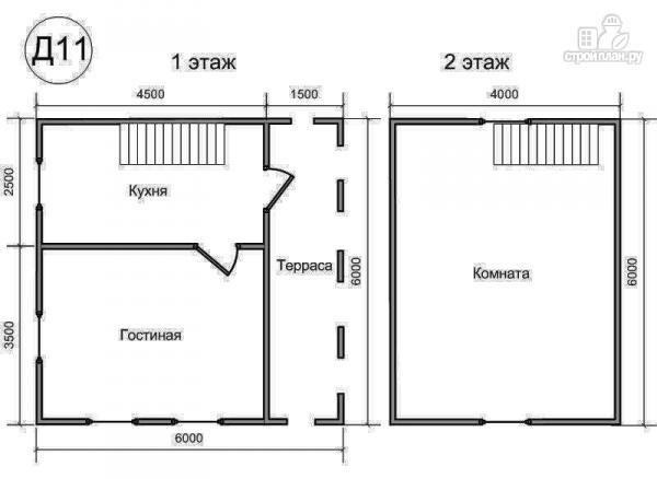 Фото 2: проект деревянный дом 6х6 из бруса, с террасой